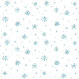 Seamless pattern hand drawn white snow flakes on white, simple winter background. design for holiday greeting cards and invitation Royalty Free Stock Images