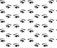 76c6892f0b5 Seamless pattern of hand-drawn woman s eyes with shaped eyebrows royalty  free illustration