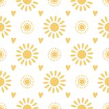 Seamless pattern cute hand drawn yellow doodle suns on white background Summer  illustration. Seamless pattern with hand drawn yellow doodle suns on white royalty free illustration