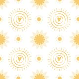 Seamless pattern with hand drawn yellow doodle suns on white background Summer  illustration. Seamless pattern with hand drawn yellow doodle suns on white stock illustration