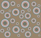 Seamless pattern with hand drawn zentangle mandala on brown Stock Photography