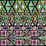 Seamless pattern hand-drawned geometry. Seamless vector ornament on black background, native-american style Stock Photo