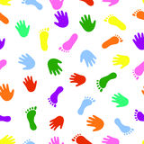 Seamless pattern hand and foot colorful prints. Royalty Free Stock Images