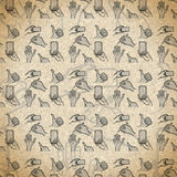 Seamless pattern hand gestures with smartphone in vintage style Stock Photography