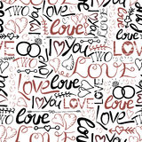 Seamless pattern with hand lettering and inscriptions I love you, Two, Love Royalty Free Stock Image