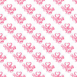Seamless pattern with hand lettering Mother`s Day on pink background. Template for a banner, poster, flyer, invitation. Vector illustration for your design Stock Photo