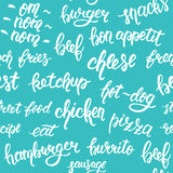 Seamless pattern with hand lettering set of words for fast food on a blue background. Vector Royalty Free Stock Photography