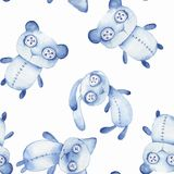 Seamless pattern with hand made toys. Watercolor. Creepy Teddy bear, Bunny, cat Stock Photo