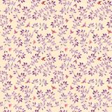 Seamless pattern with hand painted cute leaves and ditsy birds. Watercolour romantic design. On beige background stock images