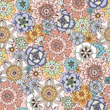 Seamless pattern with hand-painted flowers. Stock Image