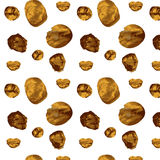 Seamless pattern with hand painted gold circles. Gold polka dot pattern Royalty Free Stock Images