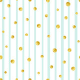Seamless pattern with hand painted gold circles. Gold polka dot pattern Royalty Free Stock Photo