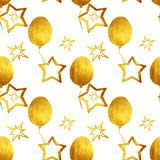 Seamless pattern with hand-painted golden pearly balloons and stars on white background Royalty Free Stock Photo