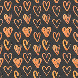 Seamless pattern of hand-painted  hearts Stock Images
