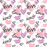 Seamless pattern with hand painted hearts, kisses and words; love, kiss, xoxo. royalty free illustration