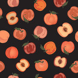Seamless pattern with hand painted peaches on black background. Royalty Free Stock Photography