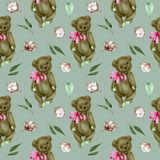 Seamless pattern with hand-painted soft plush teddy bears and cotton flowers. On a blue background vector illustration