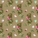 Seamless pattern with hand-painted soft plush teddy bears and cotton flowers. On a brown background royalty free illustration