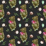 Seamless pattern with hand-painted soft plush teddy bears and cotton flowers. On a dark background royalty free illustration