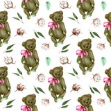 Seamless pattern with hand-painted soft plush teddy bears and cotton flowers. On a white background vector illustration