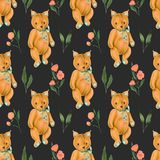 Seamless pattern with hand-painted soft plush toy fox and pink flowers Royalty Free Stock Photography