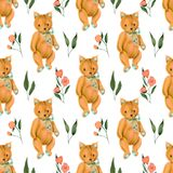 Seamless pattern with hand-painted soft plush toy fox and pink flowers Stock Photo