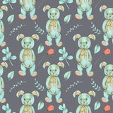 Seamless pattern with hand-painted soft plush toy rabbit and floral elements Royalty Free Stock Photos