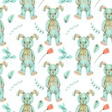 Seamless pattern with hand-painted soft plush toy rabbit and floral elements Stock Images
