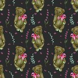 Seamless pattern with hand-painted soft plush toy teddy bears and lavender flowers. On a dark background vector illustration