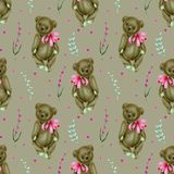 Seamless pattern with hand-painted soft plush toy teddy bears and lavender flowers. On a grey background vector illustration