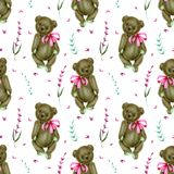 Seamless pattern with hand-painted soft plush toy teddy bears and lavender flowers. On a white background vector illustration