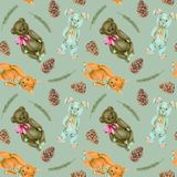 Seamless pattern with hand-painted soft plush toys fox, rabbit and bear Royalty Free Stock Image
