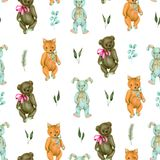 Seamless pattern with hand-painted soft plush toys fox, rabbit and bear and plants Royalty Free Stock Photos