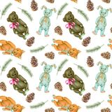 Seamless pattern with hand-painted soft plush toys fox, rabbit and bear Stock Image