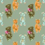 Seamless pattern with hand-painted soft plush toys fox, rabbit and bear Stock Photography