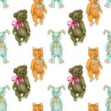Seamless pattern with hand-painted soft plush toys fox, rabbit and bear Stock Photo