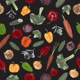 Seamless pattern with hand painted vegetables on black background. Great for agriculture, restaurant, cafe, grocery, food ads, texture design Stock Photography