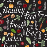 Seamless pattern with hand painted vegetables and salad related text Royalty Free Stock Photo