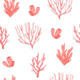 Seamless pattern with hand painted watercolor bright corals stock illustration