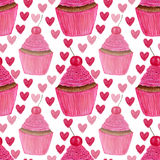 Seamless pattern with hand painted watercolor cupcakes with hearts and sweet cherry. Package design or wrapping paper. Seamless pattern with hand painted Royalty Free Stock Photography