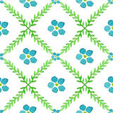 Seamless pattern with hand painted watercolor flowers and brunches. Forget-me-not flowers vector texture Royalty Free Stock Image