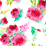 Seamless pattern with hand painted watercolor roses. Stock Image