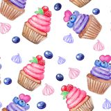 Seamless pattern with hand painted watercolor sweet cupcake and marhmallow, berries. Print, package design, wrapping, textile royalty free illustration
