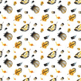 Seamless pattern of hand-painted watercolor yellow-black feather Stock Images