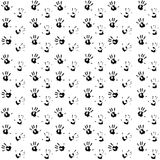 Seamless pattern hand print black. Child hand print and kids hand print, vector illustration Royalty Free Stock Image