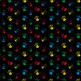 Seamless pattern hand print colored. Child hand print and kids hand print. Vector illustration Royalty Free Stock Photos