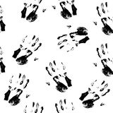 Seamless pattern - hand prints. Seamless pattern black hand prints on white background. Vector illustration Stock Photo