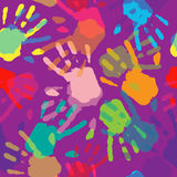 Seamless Pattern Hand Prints. Royalty Free Stock Photography
