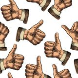 Seamless Pattern hand showing symbol Like. Making thumb up gesture. Royalty Free Stock Photos
