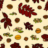 Seamless pattern hand sketched nuts Stock Photos